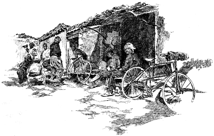 Illustration from Across Asia on a Bicycle: Evening halt in a village